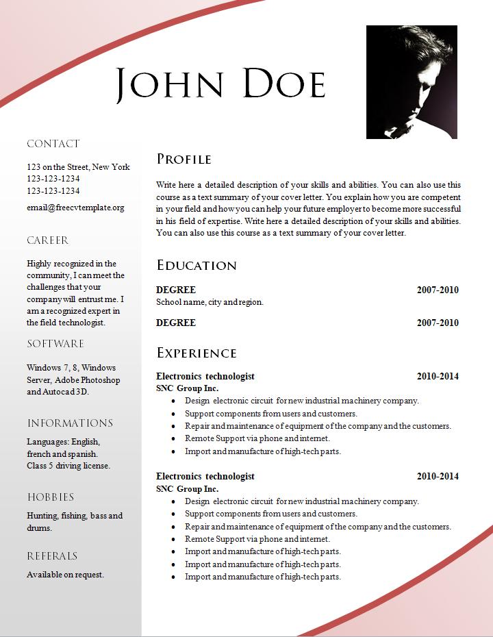 formato de curriculum vitae para centros empresariales