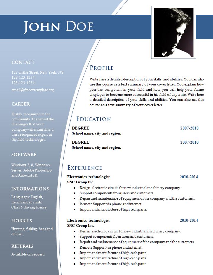 formato de curriculum vitae para companias profesionales privadas
