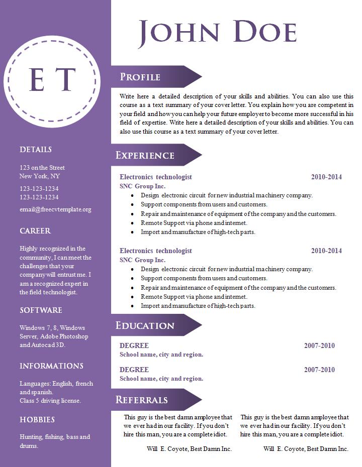 formato de curriculum vitae de empresas profesionales