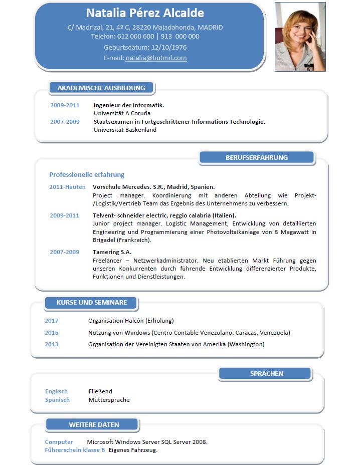 elaborar curriculum de profesionales para centros privados en aleman