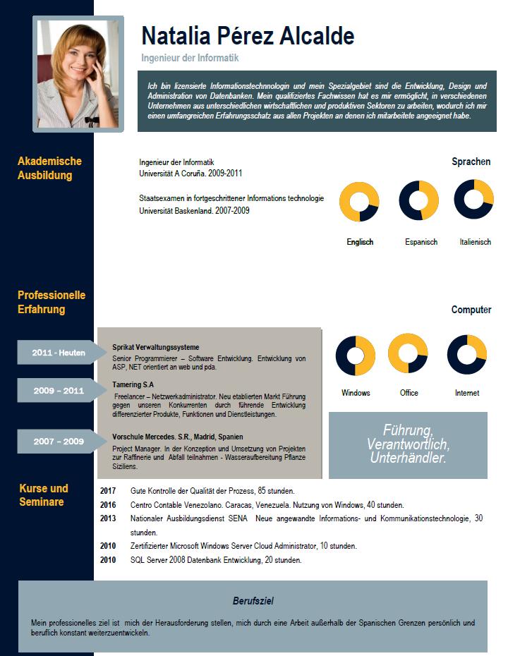 elaborar curriculum vitae de profesionales para companias profesionales en aleman