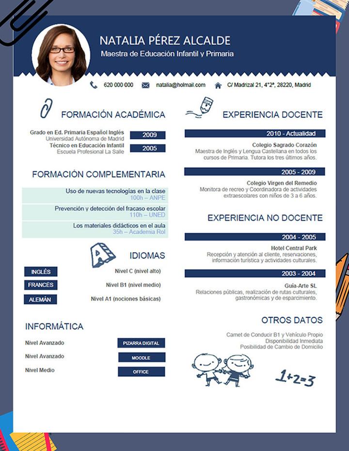 Contemporáneo Currículum De Maestro Colección de Imágenes ...