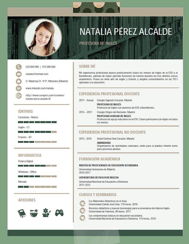 Plantillas De Curriculum De Profesor Elaboraci 243 N Del