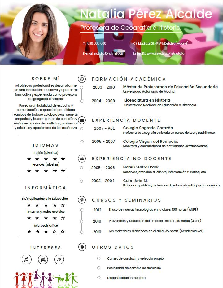 Curriculum Profesor | Plantillas de CV para Profesores | cvExpres