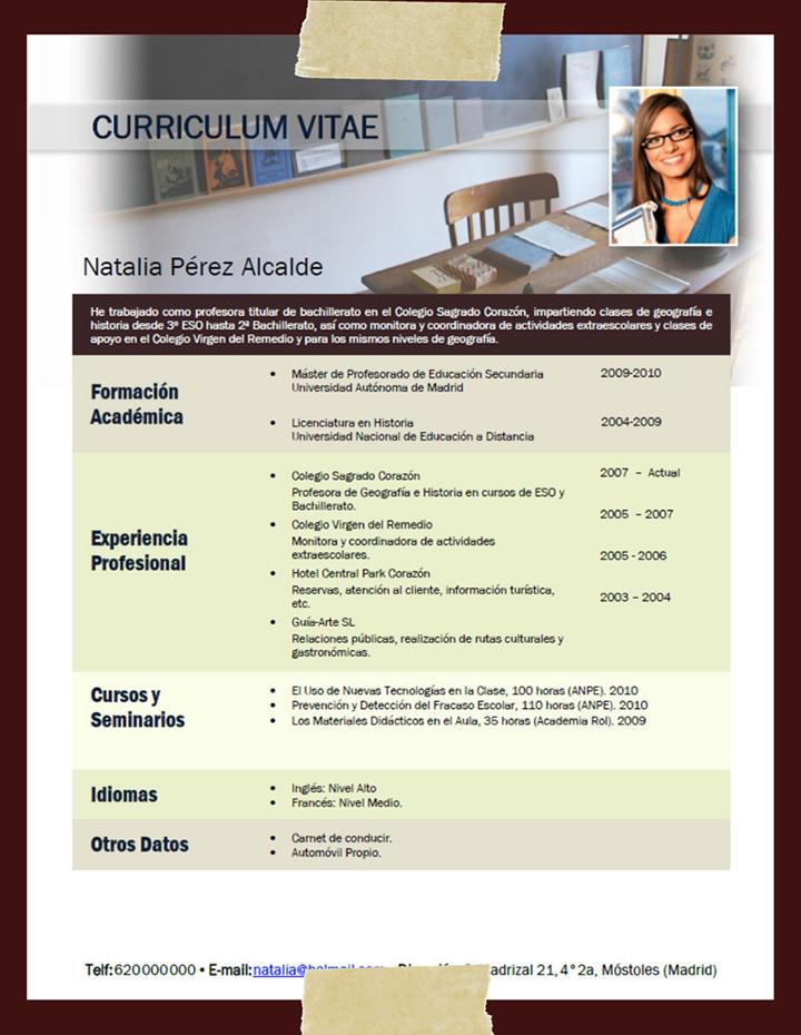 plantilla de curriculum vitae educativo