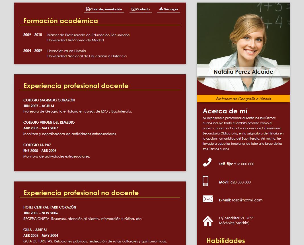 curriculum vitae modelo para colegios cv online