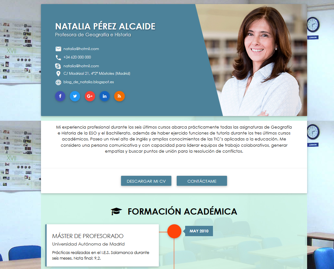 CV online profesores | crear un curriculum online docente | cvExpres