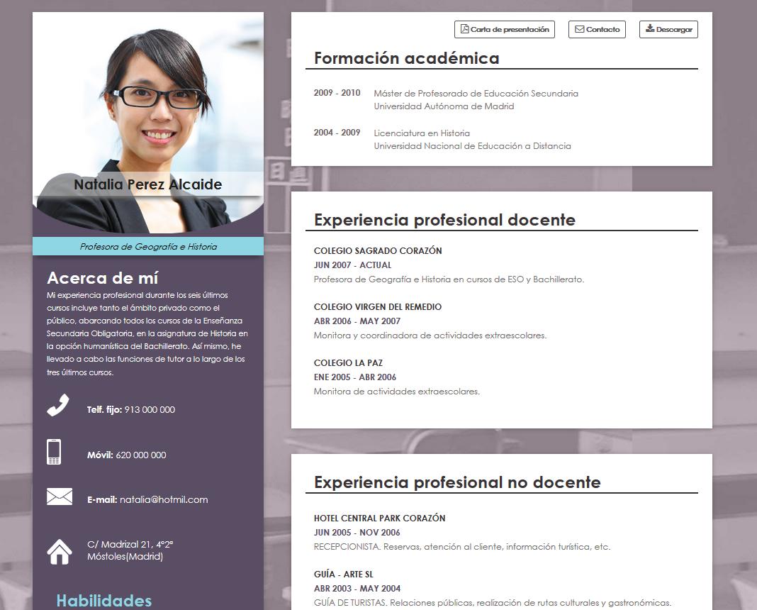 formato de curriculum vitae para centros educativos infografia