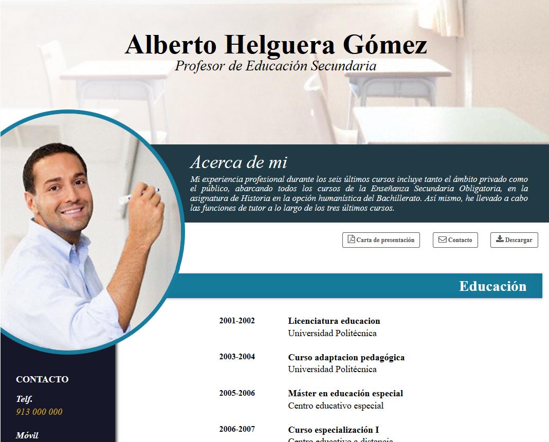 CV online profesores   crear un curriculum online docente   cvExpres