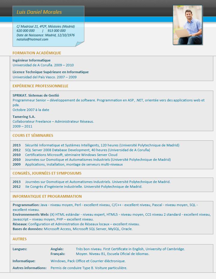 plantillas y modelos de curriculum en franc u00e9s