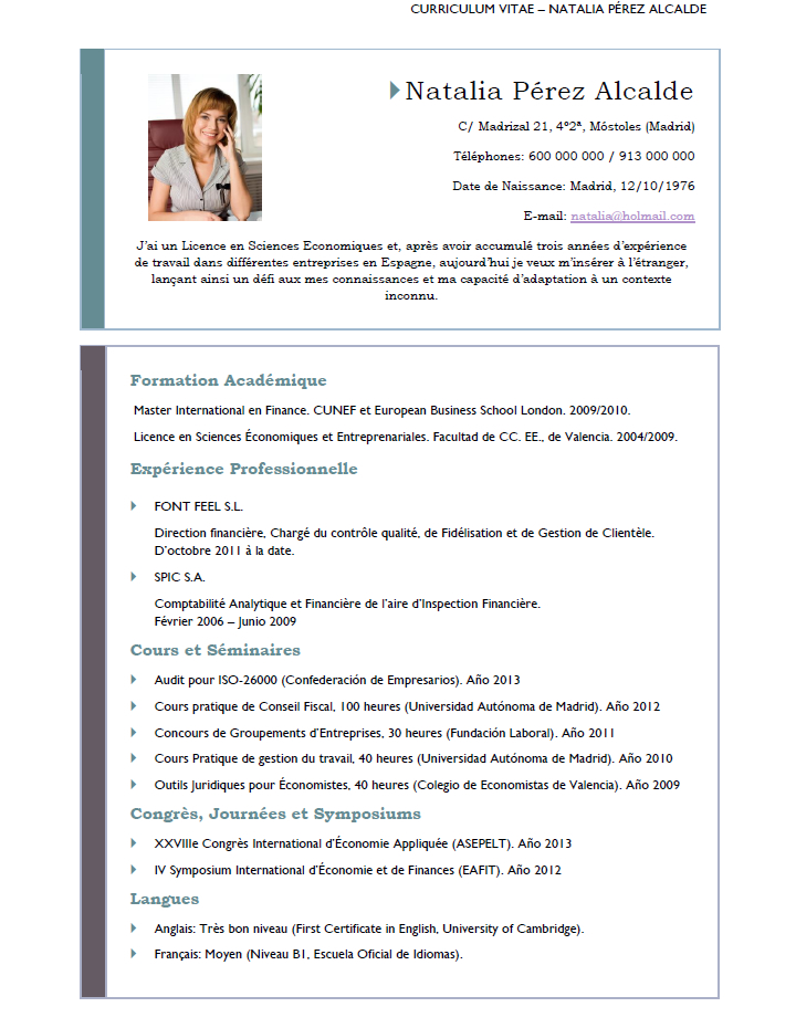 Elaboration Of A Resume In French Cvexpress