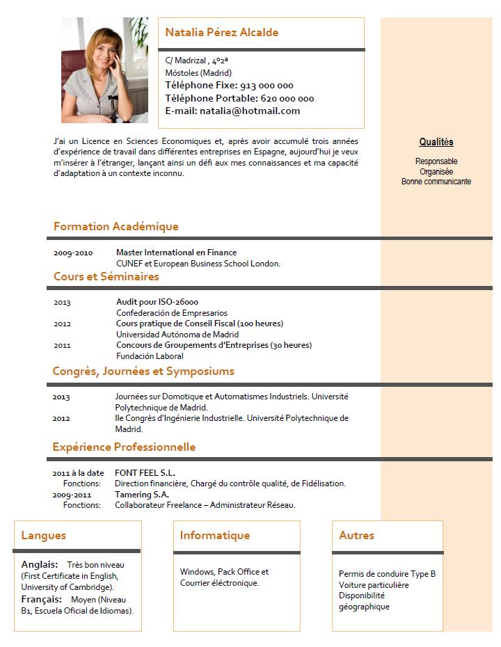 Plantillas Y Modelos De Curriculum En Frances Cvexpres