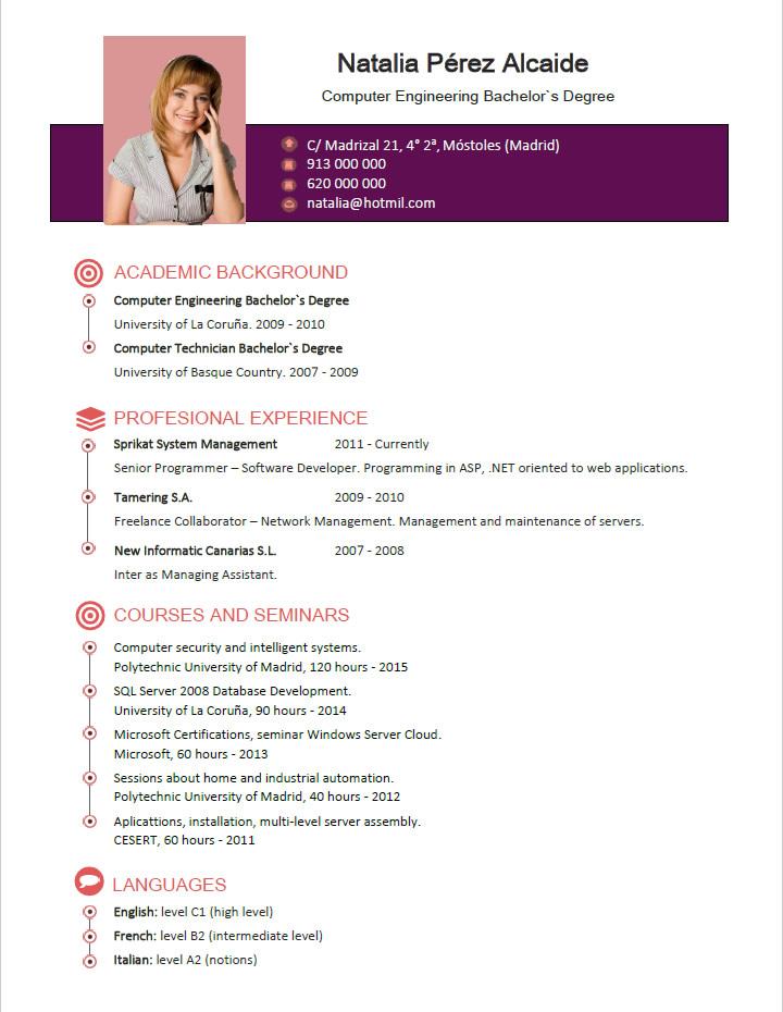 Plantillas De Curriculum En Inglés En Inglés Ejemplo De Cv En Ingles