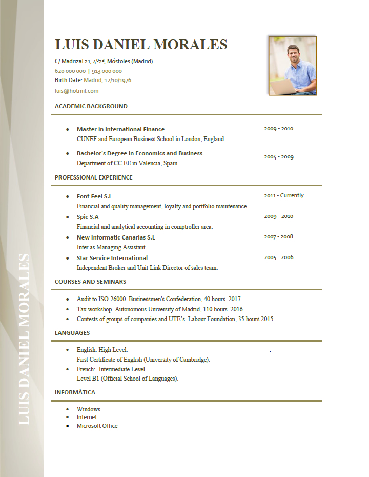 Plantillas De Curriculum En Ingles En Ingles Ejemplo De Cv En Ingles