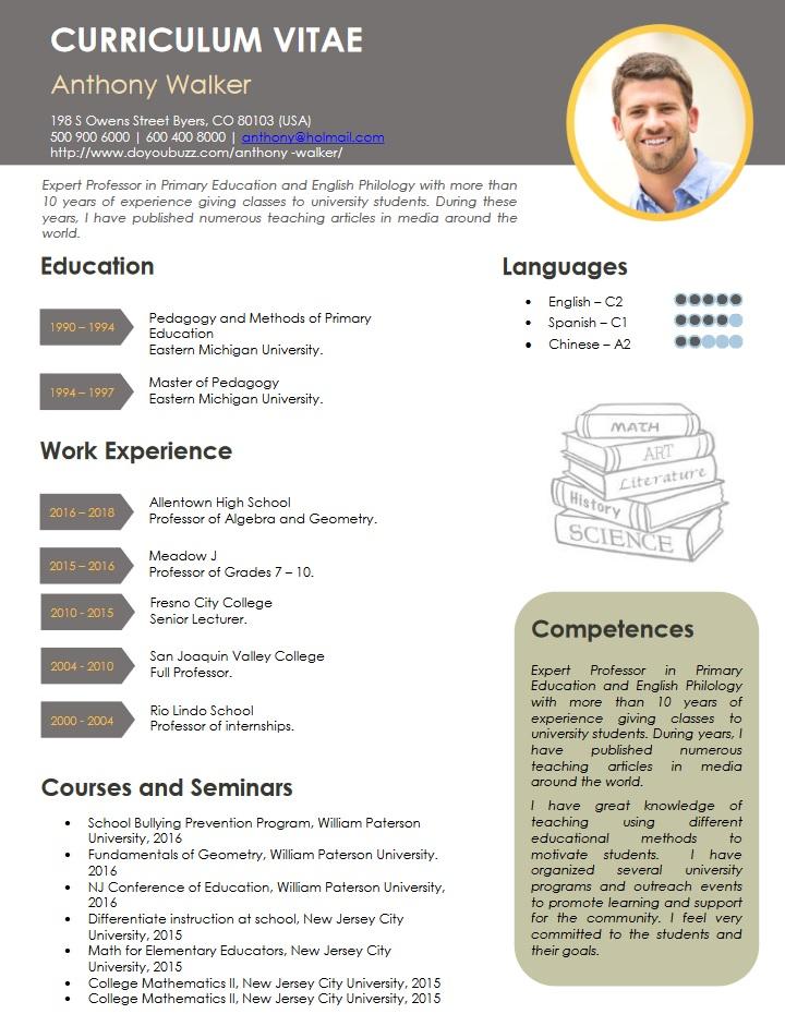 resume, summary, teacher