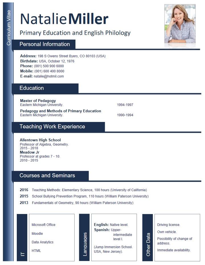 sample, resume, for, teachers