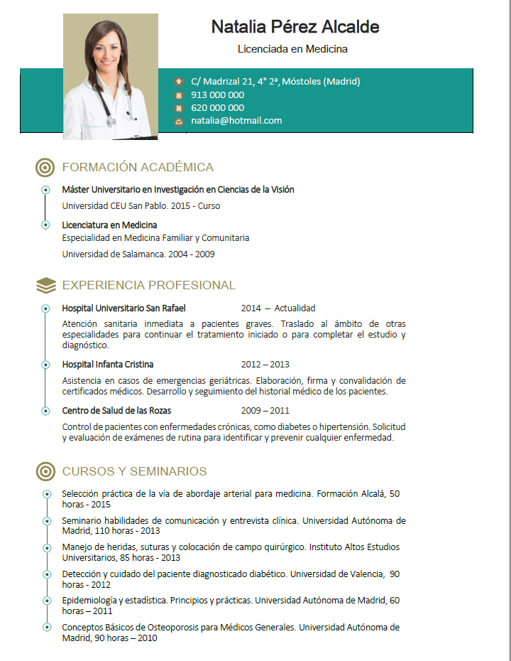 curriculum de m u00e9dicos o enfermeras  plantillas de cv para hospitales