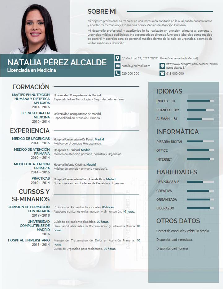 Curriculum De Médicos O Enfermeras Plantillas De Cv Para