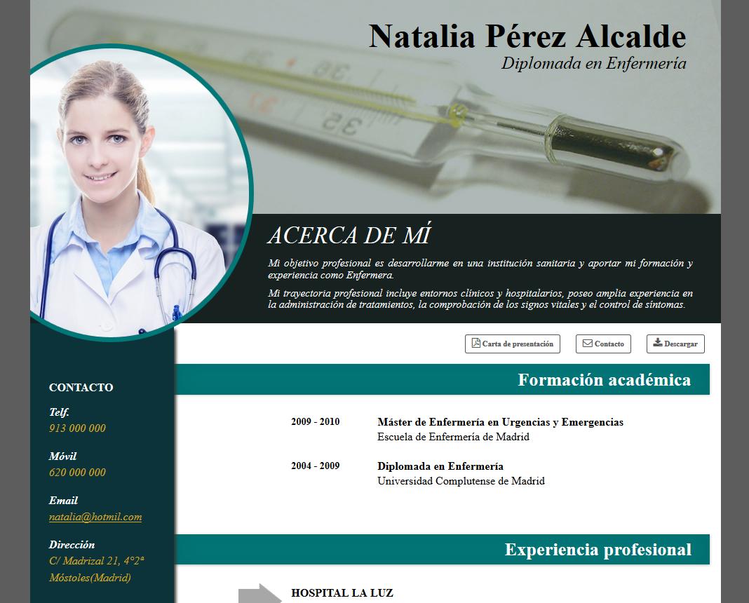 formato de curriculum de profesionales de la salud