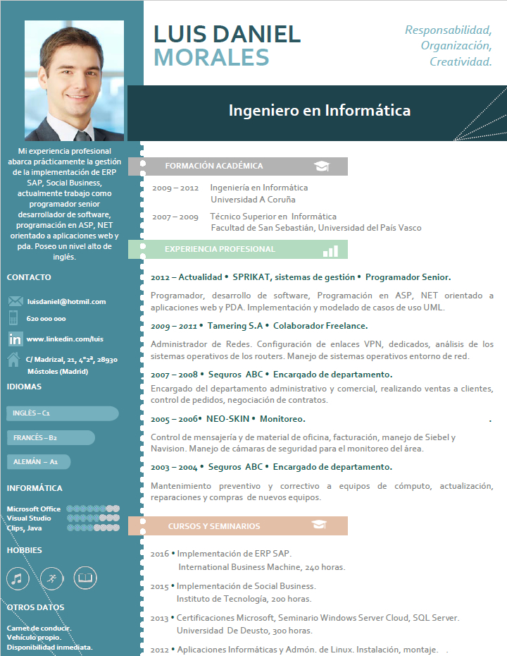 Plantillas De Curriculum Profesionales Cvexpres