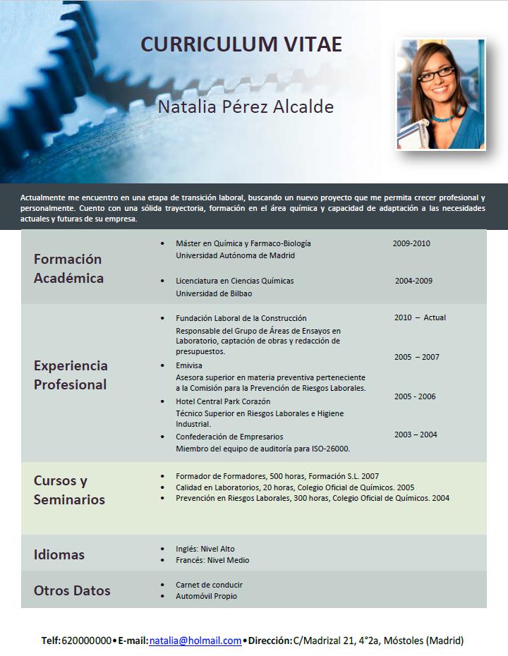 elaborar curriculum vitae de profesionales para companias profesionales