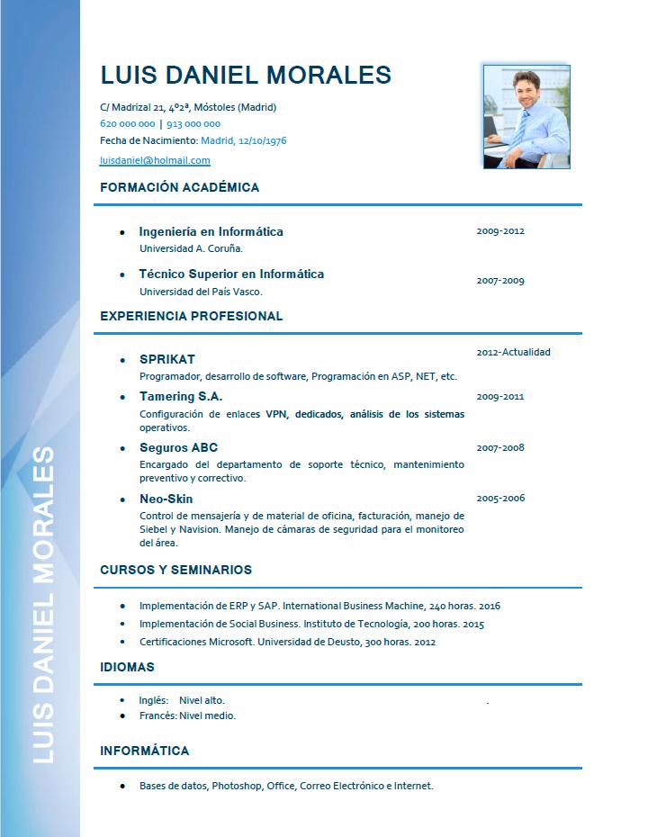 elaboraci u00f3n de curriculum profesional  plantillas de cv