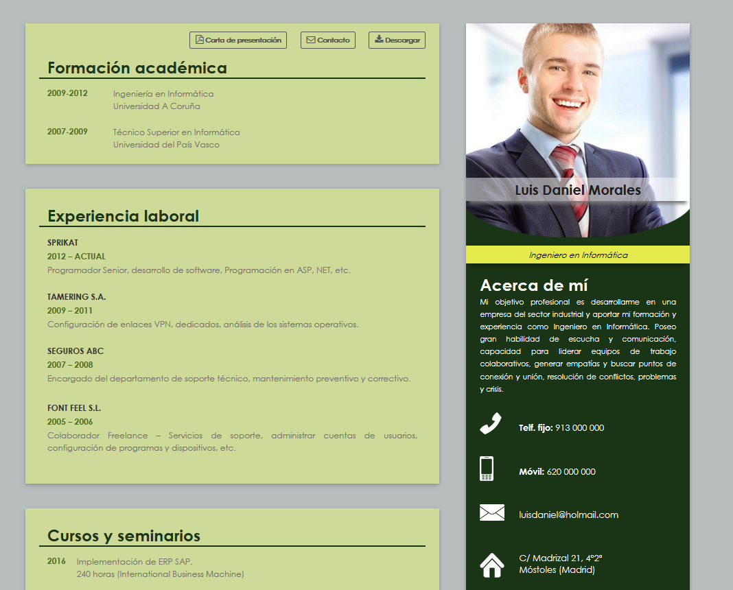 curriculum ejemplo para centros empresariales cvonline