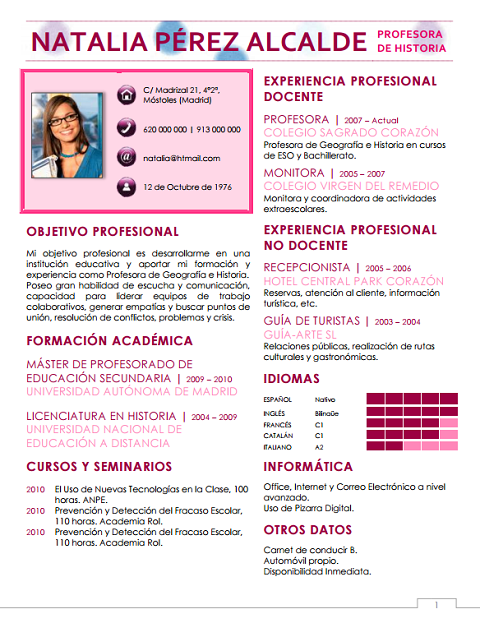 Ejemplos De Curriculum Vitae De Profesores De Ingles Mediagallery