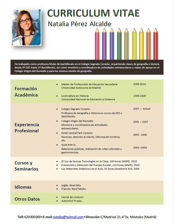 Modelo Curriculum Vitae Docente Argentina