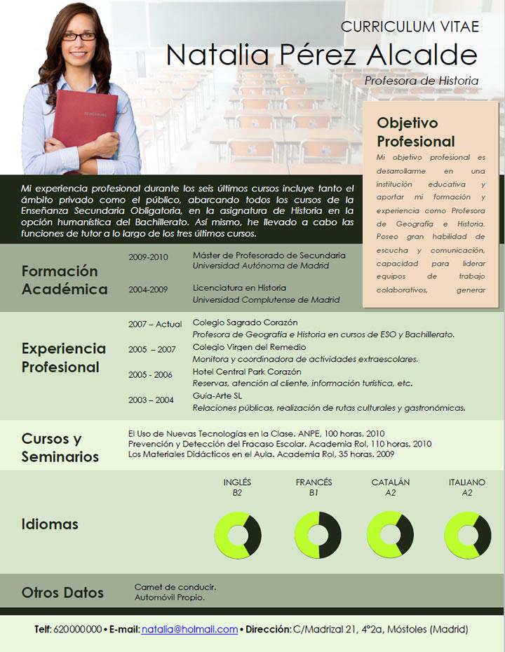 Dorable Curriculum Vitae Maestra Regalo - Ideas De Ejemplo De ...