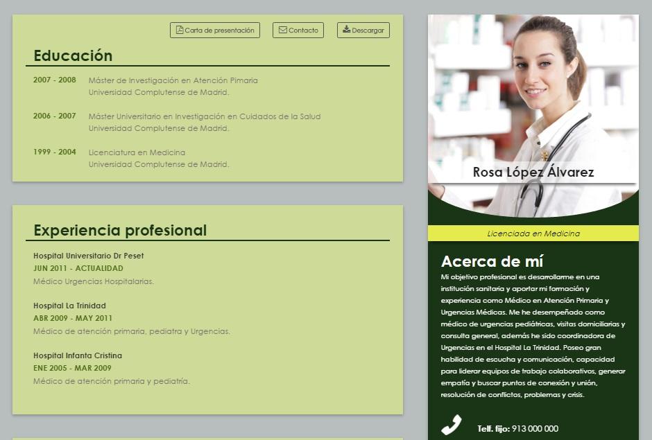 Elaboración del curriculum online de médicos o enfermeras, formato ...