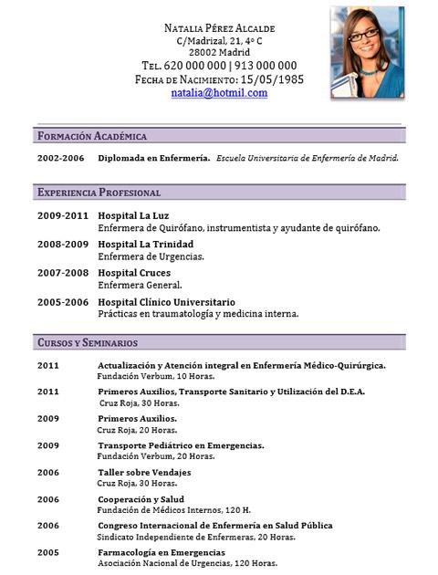 elaboraci u00f3n del curriculum de m u00e9dicos o enfermeras
