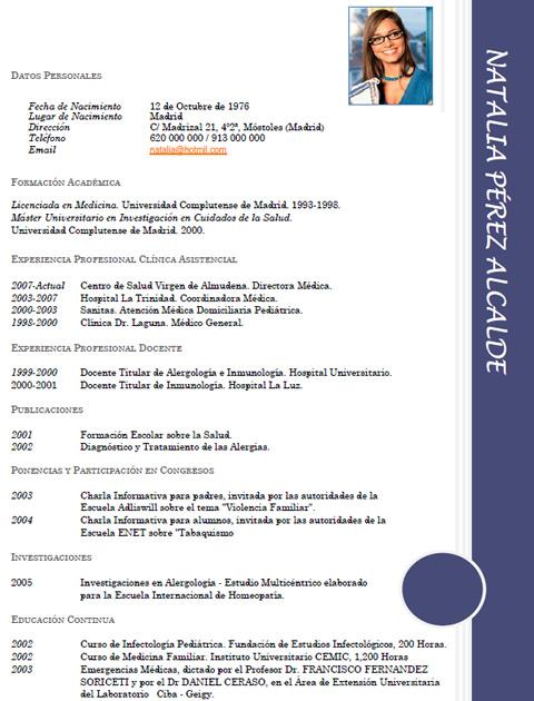 plantilla curriculum vitae odontologo