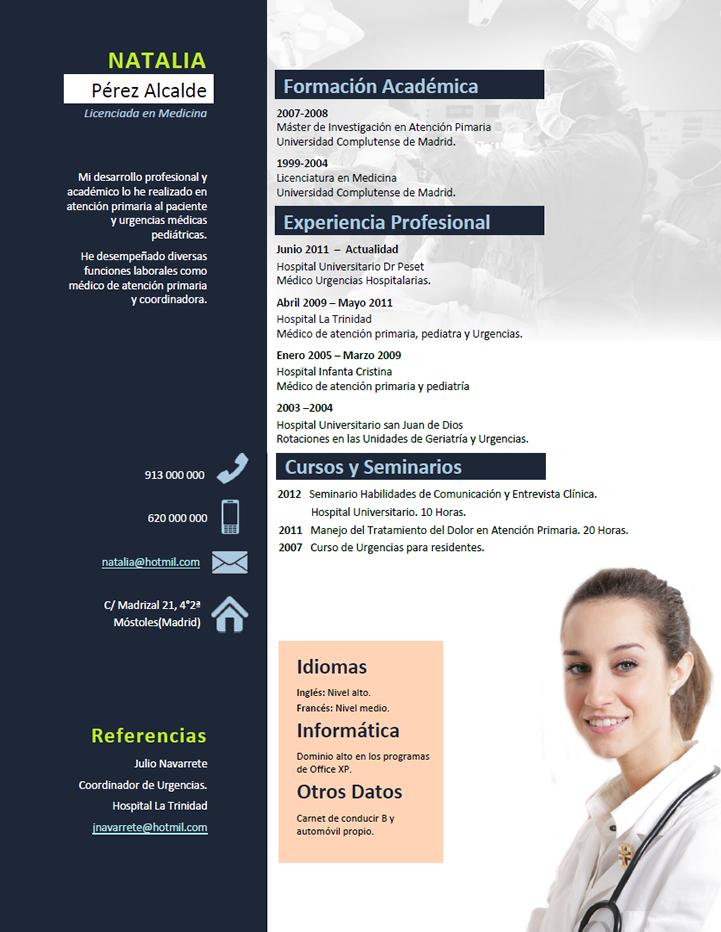 Elaboración del curriculum de médicos o enfermeras. Plantillas de CV ...
