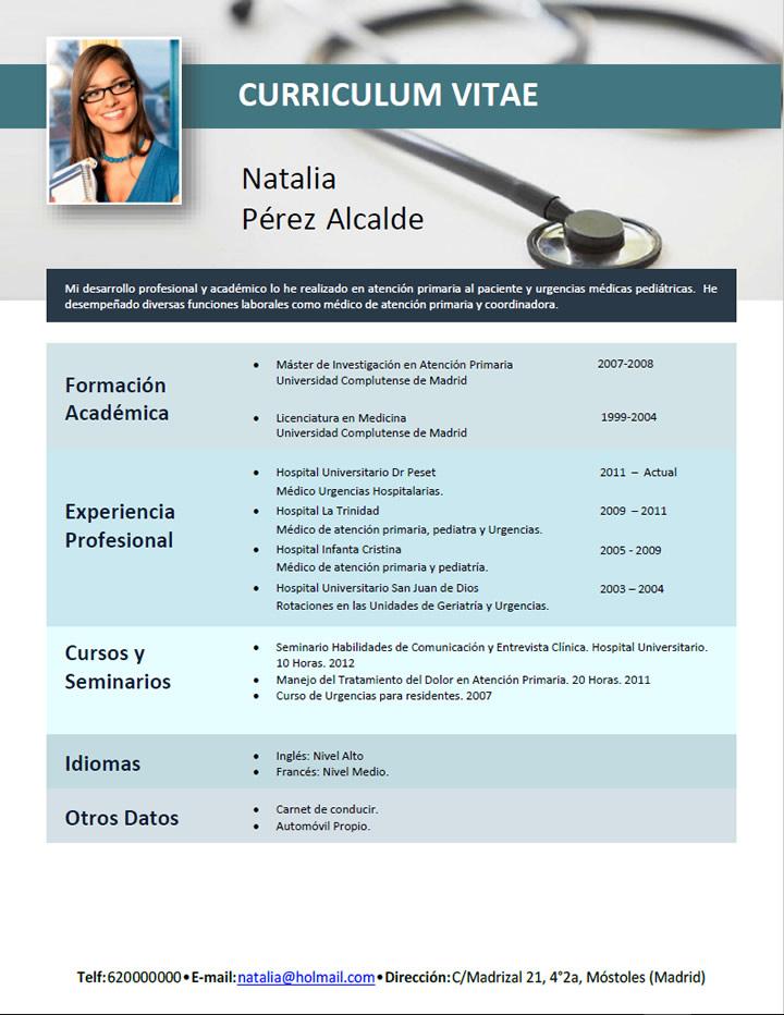 Modelo Curriculum Vitae Medico Ingles Plataforma Lattes