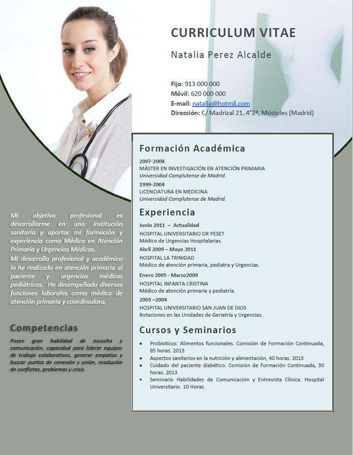 Elaboración del curriculum de médicos o enfermeras. Plantillas de ...