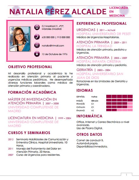 currículum profesor n° 5 - envio curriculum hoteles