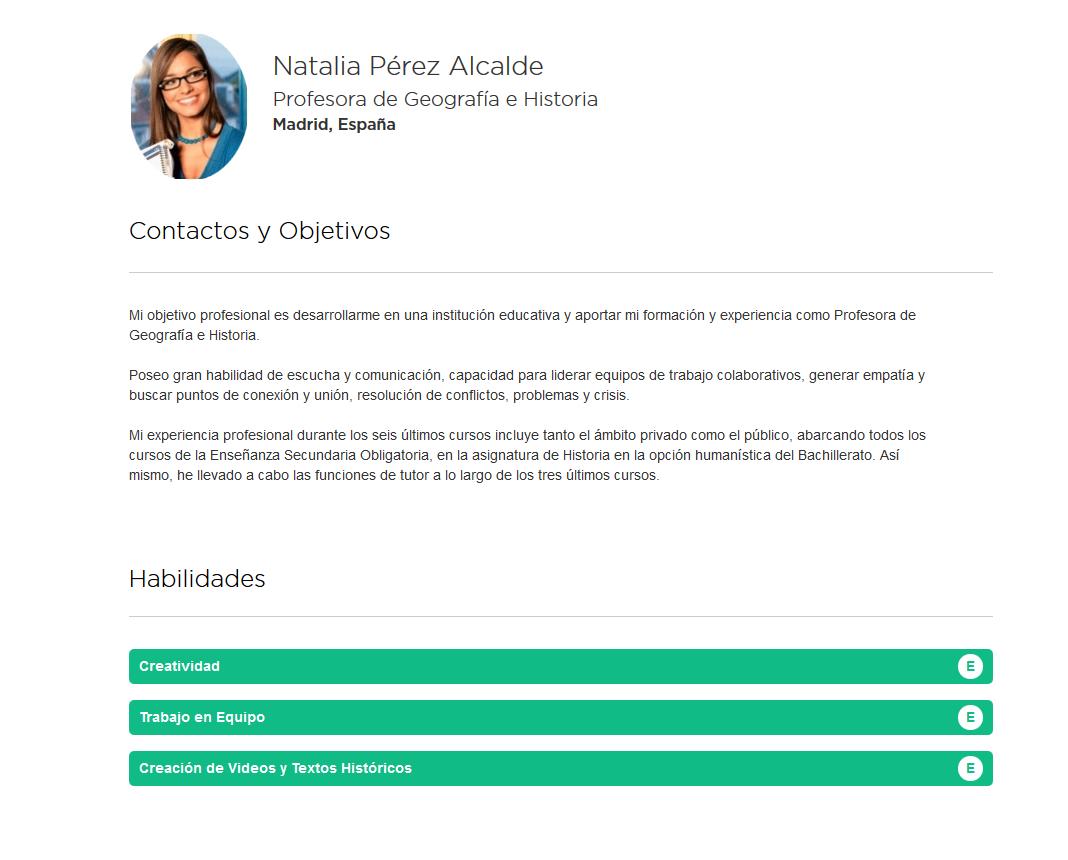 Elaboración del curriculum online de profesores, en formato HTML ...