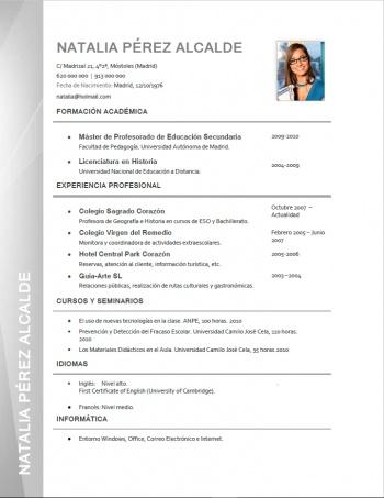 currículum profesor n° 6 - empleo colegios privados
