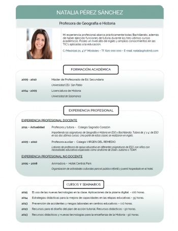 currículum profesor n° 132 - empleo colegios privados