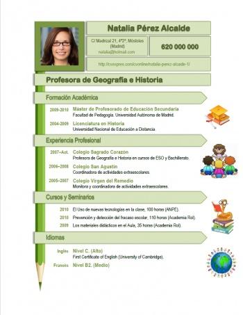 currículum profesor n° 158 - enviar cv colegios