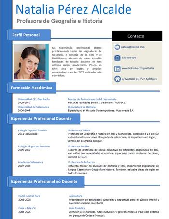 currículum profesor n° 100 - empleo colegios privados