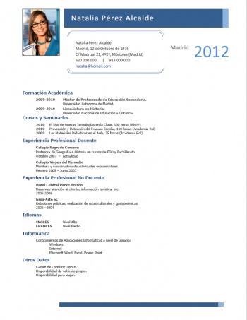 currículum profesor n° 167 - para colegios privados