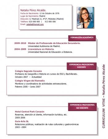 currículum profesor n° 114 - empleo colegios privados