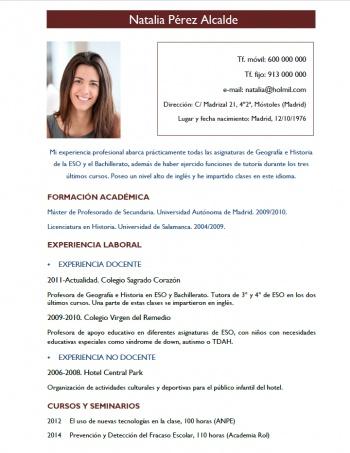 currículum profesor n° 186 - trabajo colegios privados