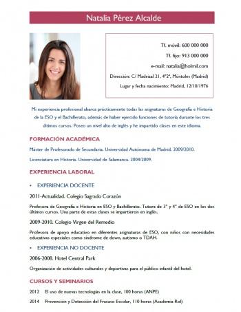currículum profesor n° 151 - para enviar a colegios