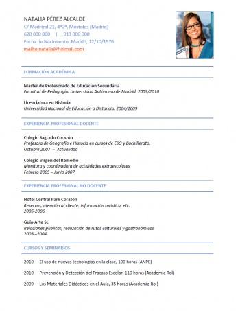 currículum profesor n° 219 - buscar empleo en colegios