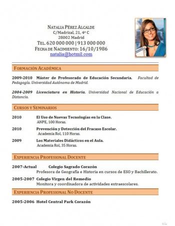 currículum profesor n° 232 - enviar cv colegios