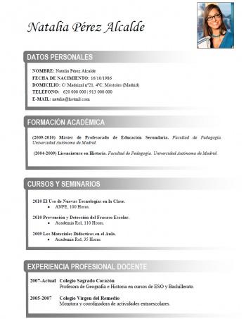 currículum profesor n° 214 - empleo en colegios