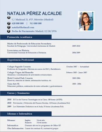 currículum profesor n° 68 - trabajar en colegios